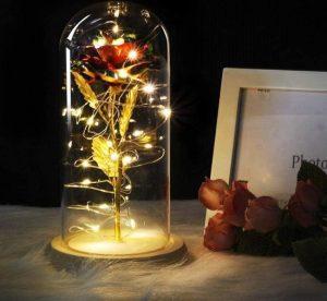 Gouden decoratie roos in stolp met led verlichting